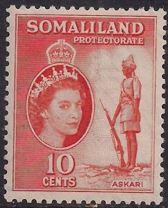 Somaliland 1953 - 58 QE2 10 ct Red Orange Umm SG 138 ( R1051 )