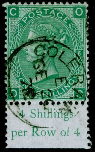 SG117, 1s green plate 6, FINE USED, CDS. MARGINAL. OC