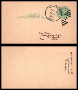Goldpath: US/Puerto Rico Post Card 1942. Humacao, P.R. _CV16_P16