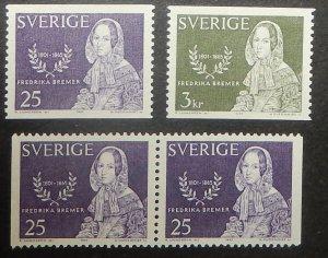 Sweden 686-88. 1965 Fredrika Bremer, novelist, NH