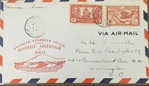Pan Am 1941 Noumea New Caledonia FFC Suva Fiji