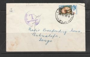 Fiji 1969 Commercial mail to Tonga with Postage due marking added, pmk LOMA???