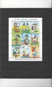 Tanzania 681 MNH Disney International Literacy Year Sheet of 9