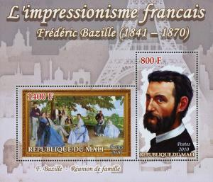 Mali French Impressionism Frederic Bazille Art Sov. Sheet of 2 Stamps Mint NH
