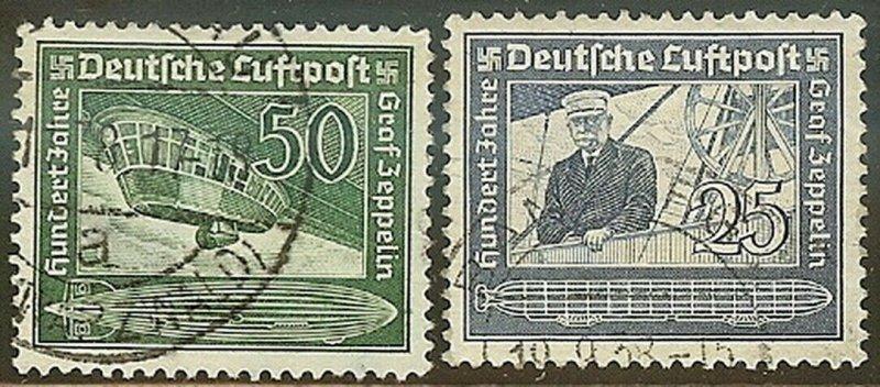 Stamp Germany Mi 669-70 Sc C59-60 1938 Fascism Airmail Hindenburg Used
