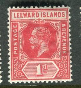LEEWARD ISLANDS; 1912 early GV issue fine Mint hinged 1d. value, Shade