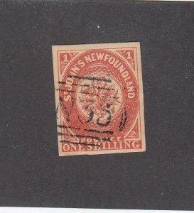 NEWFOUNDLAND (MK6774) # 9 VF-USED FORGERY 1sh ST JOHN'S IMPERF /SCARLET-VERM