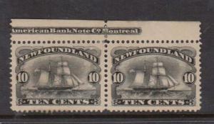 Newfoundland #59i VF Mint Imprint Pair Variety