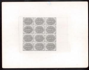 USA #10X2P4 Very Fine 5cent / 10cent Black Plate Proof On Card Complete Sheet