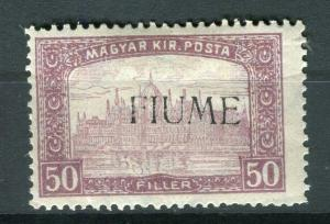 FIUME; Hungarian 1918 Parliament Optd. issue Mint hinged 50f. value
