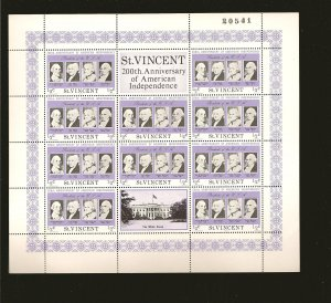 Saint Vincent 435 USA Bicentennial Sheet of 10 + 2 Labels MNH