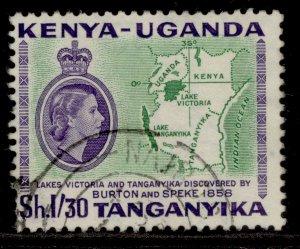 KENYA UGANDA TANGANYIKA QEII SG182, 25c bronze-green, FINE USED.