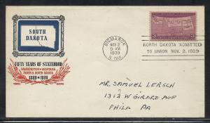US #858-19b South Dakota Gundel cachet addressed