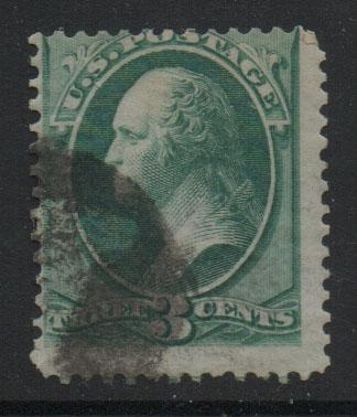 US Stamps 1870 - 71 Washington Sc136 3c Green Stamp Used F