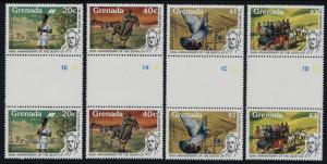 Grenada 926-9 Gutter Pairs MNH Rowland Hill, Pony Express, Horse & Coach