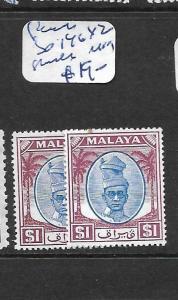 MALAYA PERAK  (P0101B) $1.00 SG 146 X 2 SHADES  MOG