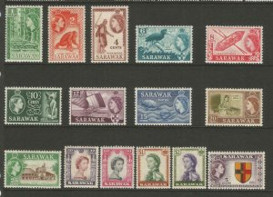 Sarawak 1955 Definitive Set Of 15 MNH CV £100 SG188-SG202