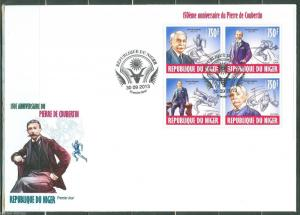 NIGER 2013 150th BIRTH ANNIVERSARY OF PIERRE de COUBERTIN OLYMPIC SHEET  FDC