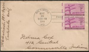 J) 1944 UNITED STATES, CENTENARY OF TELEGRAPH, WITH SLOGAN CANCELLATION, AIRMAIL