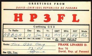 QSL QSO RADIO CARD HP3FL,David Chiriqui,Panama,Frank Linares D., (Q2620)