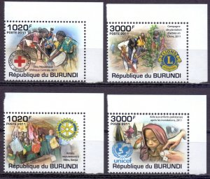 Burundi. 2011. Red Cross, Rotary Club. MNH.