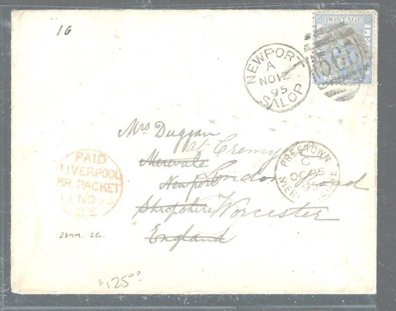 SIERRA LEONE (P3005B) 1895 QV 2 1/2D FREETOWN TO ENGLAND, FORWARDED