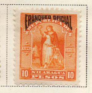 Nicaragua 1894 Early Issue Fine Mint Hinged 10P. Official Optd 323736