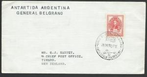 ARGENTINE ANTARCTIC 1957 cover General Belgrano base.......................12892