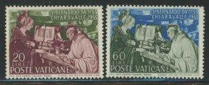 Vatican City 1953 Death of St Bernard set Sc# 171-72 NH