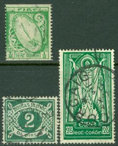 IRELAND : 1925-40. Stanley Gibbons #71a, 102, D3w (watermark inverted). Cat £155