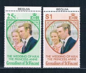 St Vincent - Grenadines 1-2 MNH set Prin Ann wed Bequia 1973 (S0907)