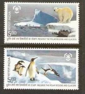 India 2009 Preserve the Polar Regions & Glaciers Antarctica Penguin Bear Snow...