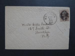 US Late 1800s Embossed Envelope w/ 2 Cent Brown Banknote / Left Tears - Z8297