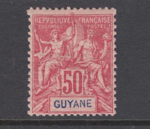 French Guiana Sc 46 MLH. 1892 50c on rose Navigation & Commerce, sound, LH