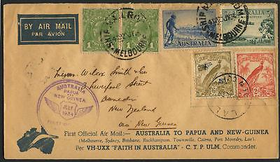 AUSTRALIA TO NEW ZEALAND VIA PAPUA & NEW GUINEA FIRST FLT COVER JULY 1934 BL1608