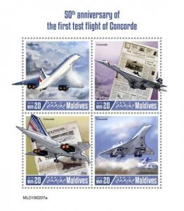 MALDIVES - 2019 - First Test Flight of Concorde  - Perf 4v Sheet - MNH