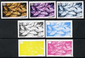 Iso - Sweden 1973 Fish 50 (Red Sea Bream) set of 7 imperf...