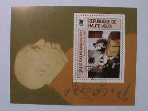 1975 UPPER VOLTA- PUBLO PICASO PAINTING SOUVENIR SHEET.