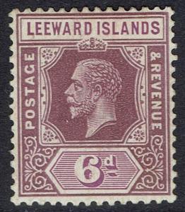 LEEWARD ISLANDS 1921 KGV 6D WMK MULTI SCRIPT CA