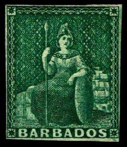1858 Barbados #5 Britannia Unwatermarked - OGH - VF - CV$210.00 (ESP#4039)