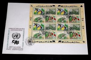 U.N. 1996, VIENNA #199a, ENDANGERED SPECIES, SHEET/16 ON LARGE FDC,NICE! LQQK!