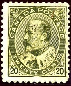 Canada #94 Edward VII 20c Olive Green Used Fine