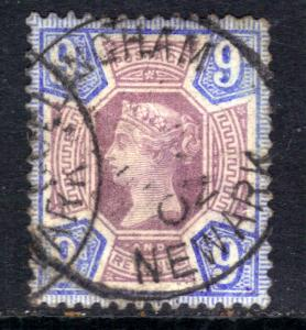 GB 1887 - 92 QV 9d Purple & Blue Jubilee Newark Postmark SG 209 ( M1355 )