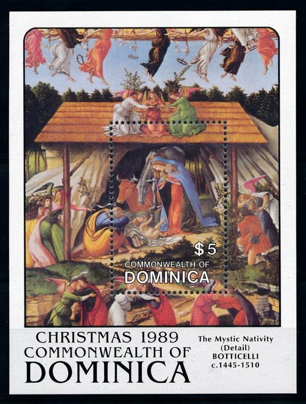 [76457] Dominica 1989 Painting Botticelli Christmas Birth of Christ Sheet MNH