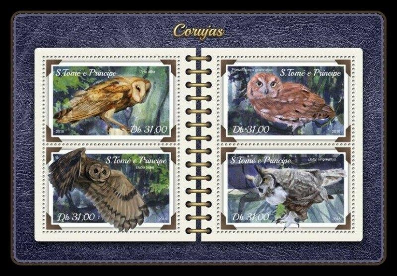 HERRICKSTAMP NEW ISSUES ST. THOMAS Owls Sheetlet