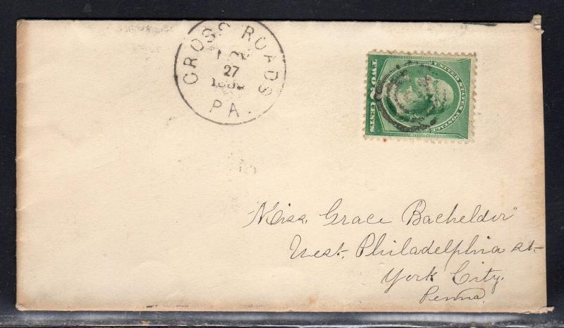 US #213 Cross Roads PA York Co. DPO 1889 With Long Personal Letter a918