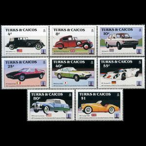 TURKS & CAICOS 1984 - Scott# 605-12 Cars Set of 8 NH
