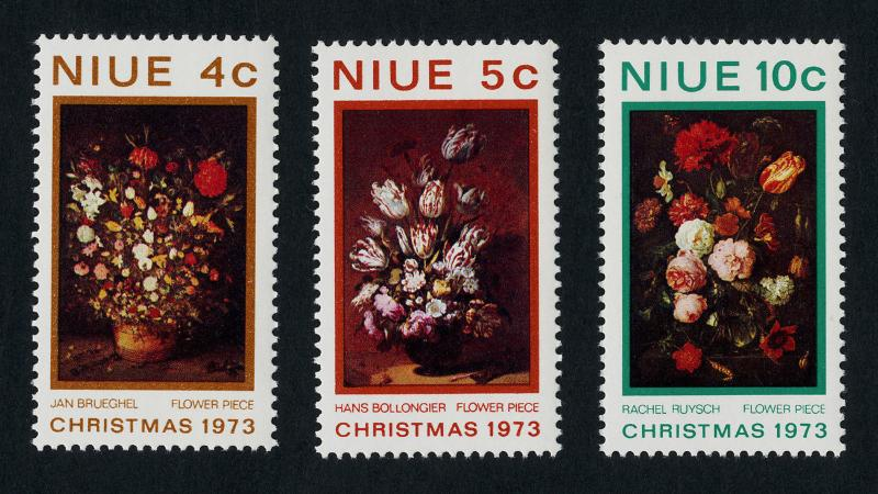 Niue 160-2 MNH Christmas, Flowers, Painting, Art