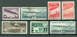 RUSSIA ZEPPELLINS #C20-25 + C22a  SET...USED NO THINS...CV$23.00