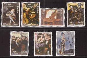 Cambodia Scott 603-609 MNH** Art Painting set